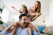 Quadro Happy family having fun times at home