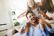 Leinwandbild Motiv Happy family having fun times at home