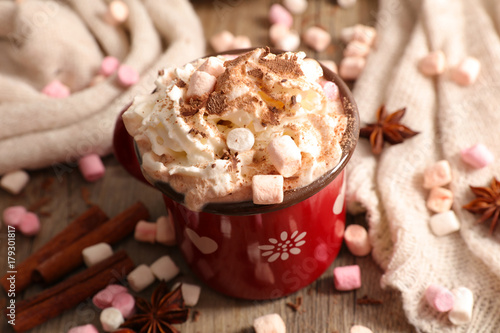 Foto op Canvas Chocolade hot chocolate with marshmallow