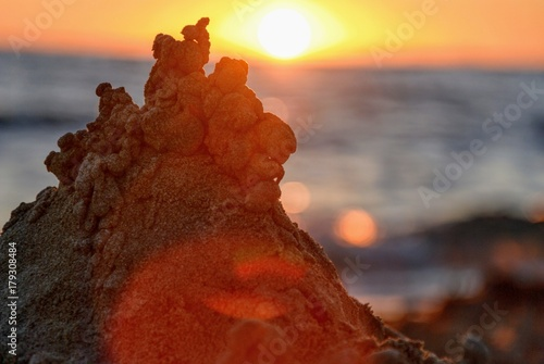 Fotobehang Bruin Autumn in Menorca, Sunset in Son Bou. Balearic Islands, Spain