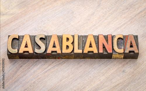 Fotobehang Marokko Casablanca word abstract in wood type