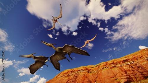 flying-pterodactyl-contra-el-hermoso-cloudscape-3d-ilustracion
