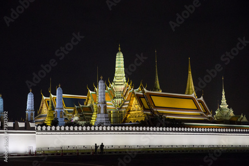 Foto op Plexiglas Bangkok Wat Phra Kaew.Temple of the Emerald Buddha one of the landmarks of Bangkok where tourists visit.