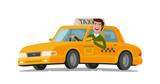 Fototapety Taxi driver concept. Car, transport, transportation, transfer symbol or icon. Vector illustration