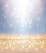 Christmas Shiny - Lights And Stars Falling On Golden Glitter