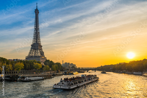 Sunset at the Eiffel tower, Paris Poster