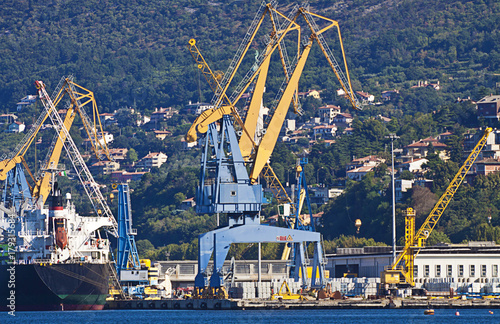 Trieste Italy,  industrial harbor installations Poster