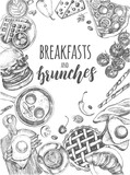 Background with ink hand-drawn food and drinks. Breakfast and brunch elements composition with brush calligraphy style lettering. Vector illustration. Menu, signboard, leaflet design template. - 179328600