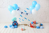 decoration for first birthday smash the cake in a marine style - 179332647