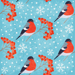 Winter vintage seamless pattern with bullfinch, rowan and snowflakes on blue background. Shabby texture. Vector illustration © mejorana777