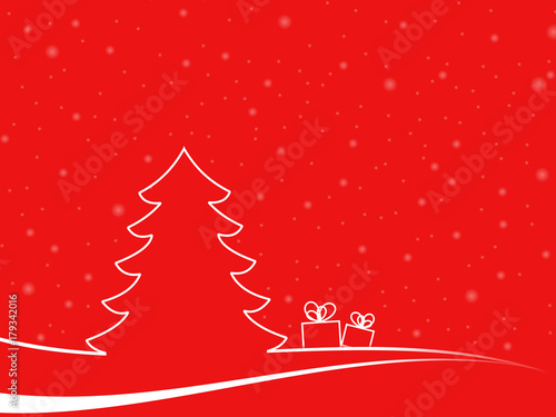 Fotobehang Rood Abstract christmas tree in a minimal landscape with two gitf boxes and white snowflakes. christmas illustration with red background and white shapes