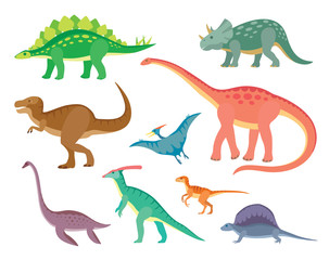 Set with various kinds of colored painted dinosaurs