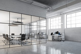 White brick open space and meeting room side