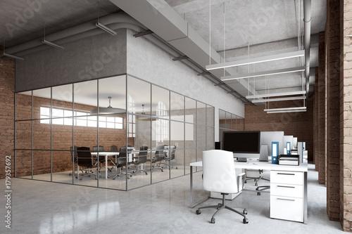 Brick office, arch windows, computers