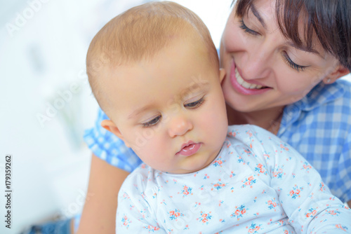 beautiful mum with baby Poster
