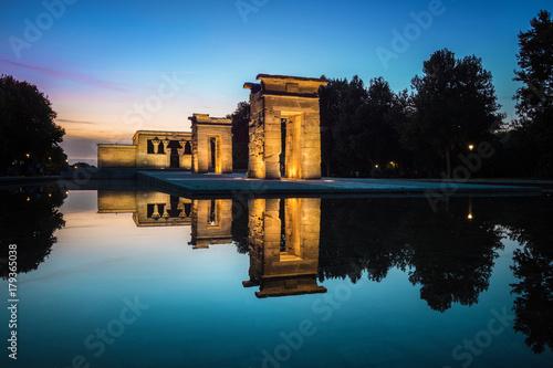 Temple of Debod at dusk in Madrid, Spain.