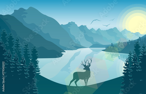Plexiglas Zoo Mountain landscape with deer in a forest and lake at sunrise