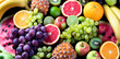 Leinwanddruck Bild - Organic fruits. Healthy eating concept. Top view