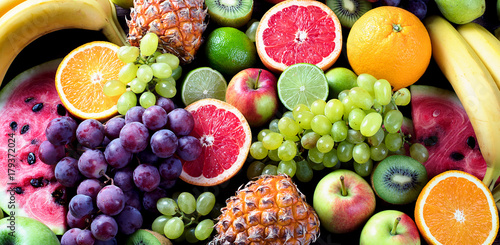 Organic fruits. Healthy eating concept. Top view - 179372024