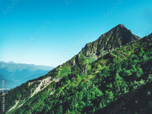 Tuinposter Blauw mountain peak