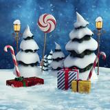 Choinki, prezenty świąteczne, lampy i laski cukrowe - 179375814