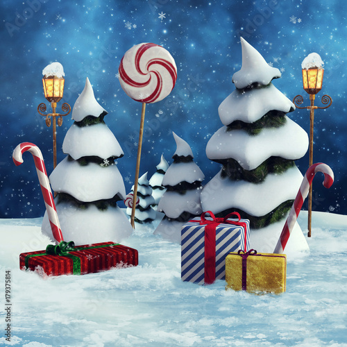 Choinki, prezenty świąteczne, lampy i laski cukrowe