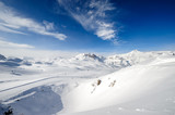 Alpine winter mountain landscape. French Alps with snow. - 179383034