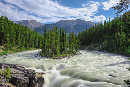 Fotobehang Canada Beautiful Sunwapta falls in Jasper National Park, Alberta, Canada.