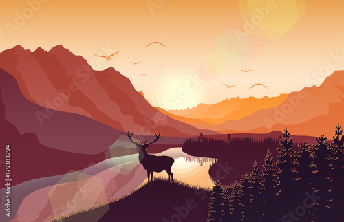 Fotobehang Zoo Sunset mountain landscape with deer in a forest near a lake