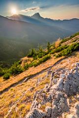 Wonderful sunset in Tatra mountains from the ridge in autumn