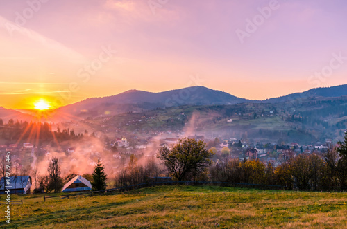 Plexiglas Lichtroze Ukrainian Carpathian Mountains landscape background during the sunset in the autumn season