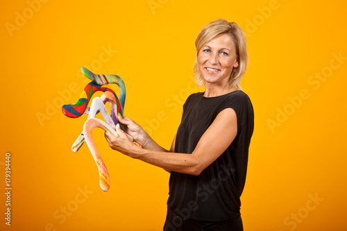 woman posing with a boomerang Poster