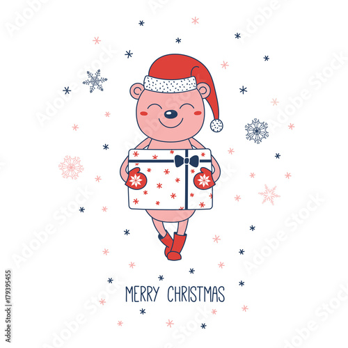 844281c5c9d Hand drawn Christmas greeting card with a cute bear in Santa hat carrying a  big present