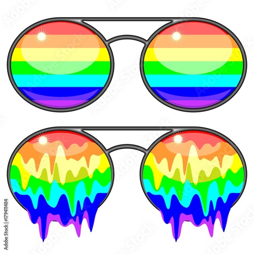 Tuinposter Draw Sunglasses Rainbow Colors Surreal Fashion Accessories