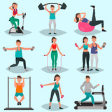 Set of guys and girls engaged in physical training color illustration