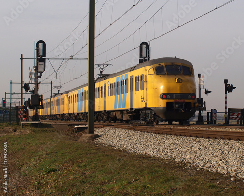 Retired commutertrain on track in Moordrecht, The Netherlands