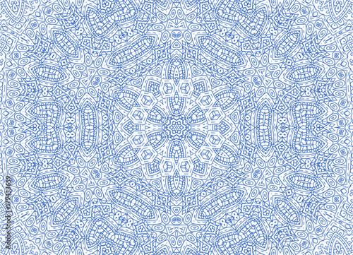 Blue abstract outline pattern on white - 179433659