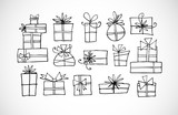 Doodle christmas gift boxes
