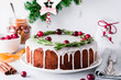 Christmas fruit cake, pudding on white plate. Copy space. - 179448098