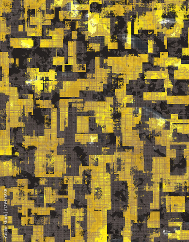 Abstract Urban Distorted Cubes Background Yellow - 179451638