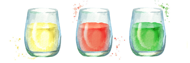 Glass of juice set. Hand drawn watercolor illustration © dariaustiugova