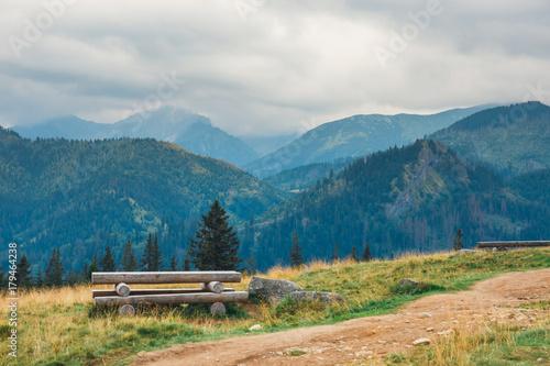 Fotobehang Groen blauw Rusinowa Glade, beautiful place in polish Tatra Mountains, Poland