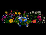 Embroidery landscape pattern with simplify flowers and butterfly. Vector embroidered native floral meadow. Tribal style design for fashion wearing.