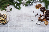 Christmas decoration on wooden background - 179465254