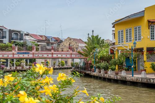Wall mural panorama des quais de Malacca