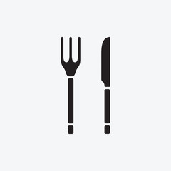 Set Icon graphic fork and knife. Black and white pictogram for web design. Vector flat illustrations, logo
