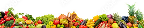 Foto op Canvas Verse groenten Panoramic collection fruits and vegetables for skinali isolated on white