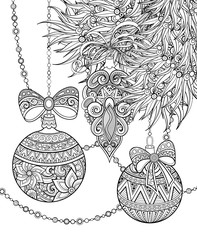 Monochrome Merry Christmas Illustration, Ethnic Motifs. Ball, Bow, Angel Decorations on the Tree. Holiday Background in Doodle Line Style. Coloring Book Page. Vector Contour Art with Realistic Shadows
