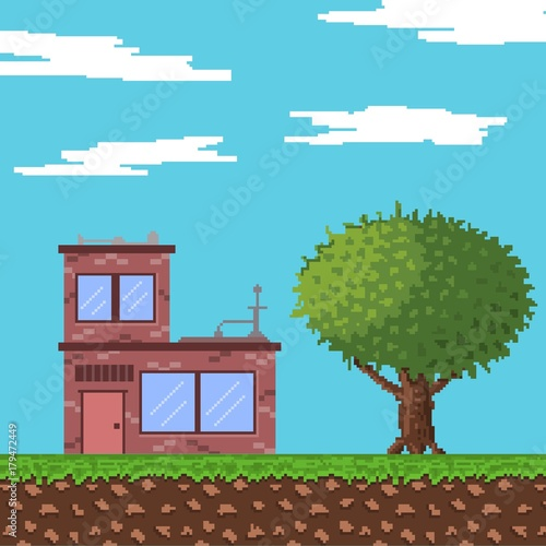 In de dag Pool landscape pixel art