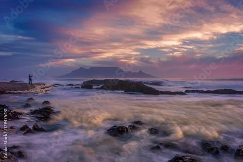 Fotobehang Zee zonsondergang Table view, Cape Town, South Africa